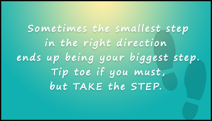 sometimes the smallest step in the right direction...